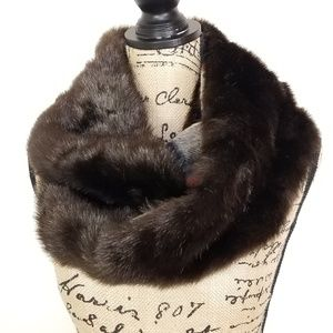 Donna Salyers Shiny Faux Fur Brown Infinity Scarf